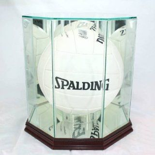 Glass Volleyball Display Case with Cherry Wood Molding  Sports Related Display Cases  Sports & Outdoors