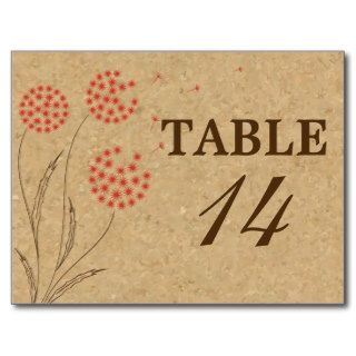 Orange dandelion cork vintage wedding table number post card