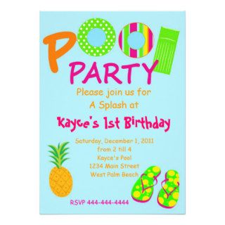 Pool Party Custom Invitations