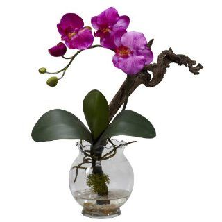Nearly Natural 1277 PP Mini Phalaenopsis with Fluted Vase Silk Flower Arrangement, Purple   Artificial Mixed Flower Arrangements