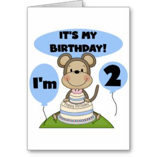 Monkey Birthday Boy 2nd Tshirts and Gifts Greeting Card