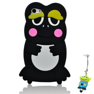 I Need(TM) Lovely 3D Cartoon Frog Style Black Soft Silicone Cover Case Compatible For Apple iPhone 5C+3D Alien Stylus Pen with Anti dust Plug+I need� Wristband Gift(Retail Package) Electronics