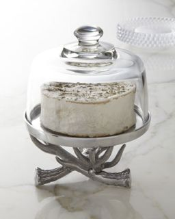 Antler Cake Stand with Glass Dome   Arthur Court