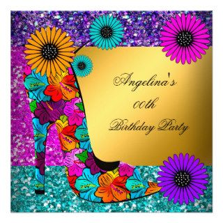 FUN High Heel Shoes Gold Birthday Party Flowers Custom Invitations