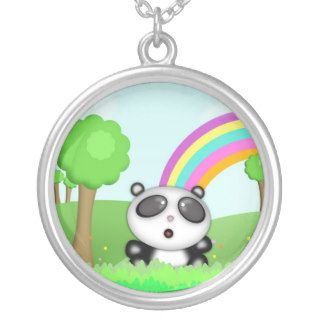 Cute Panda Bear in a colorful scene with rainbow Necklaces