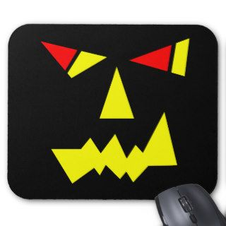Black Scary Face Monster Yellow Eyes Halloween Cat Mouse Pads