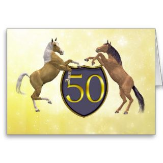 50 years old birthday card with rearing horses