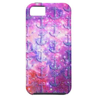 Purple nautical anchors pink glitter galaxy space iPhone 5 cover