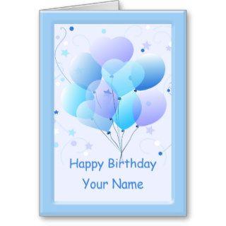 Blue Pastel Balloons Birthday Greeting Card