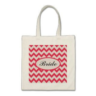 Pink and Light Gray Chevron Zig Zag Pattern Bride  Bag