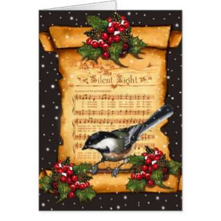 Christmas Silent Night Sheet Music, Scroll, Bird Greeting Cards