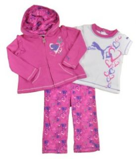 PUMA Baby girls Heart Bubbling Rose Pink Three Piece Pant Set Clothing