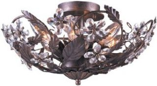 Crystorama Lighting Group 5316 DR Abbie 6 Light Crystal Semi Flush Ceiling Fixture with Hand Cut Crystal Accents, Dark Rust   Semi Flush Mount Ceiling Light Fixtures