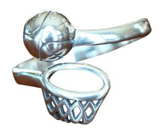 Basketball Players Sterling Silver Adjustable Ring Jewelry