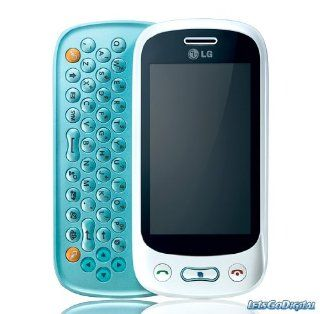 LG GT350 Etna Plus Unlocked Quadband GSM Cell Phone   Touch Screen   QWERTY Slider   International Version (White/Aqua Blue) Cell Phones & Accessories