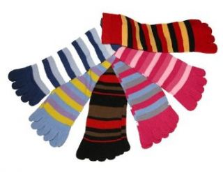 Riverstone Goods Funky Striped Toe Socks   6 PACK in Assorted Colors (6 Pack Assortment/ One Size Fits All) Clothing
