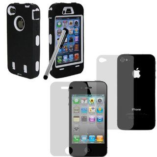 Hard Plastic Snap on Cover Fits Apple iPhone 4 4S Armor Black Hybrid Case (Outside Black Soft Silicone Skin, Inside White Front and Back Hard Case) +Pen/Stylus+Front and Back LCD Screen Protective Films AT&T, Verizon (does NOT fit Apple iPhone or iPhon