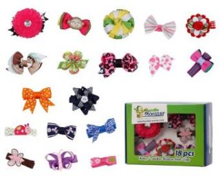 Bundle Monster 18pc Girl Baby Toddler Ribbon Bows Flowers Mixed Design Hair Clip Infant And Toddler Hair Accessories Clothing
