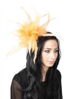 Hats By Cressida Yellow Feather Kentucky Derby Fascinator Hat With Headband Clothing