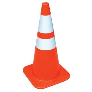 "Vestil TC 28 SD 2R Standard Duty Traffic Cone with 2 Reflector, Polyvinyl Chloride, Base 14"" Length x 14"" Width, 27 1/2"" Overall Height Industrial Warning Signs"