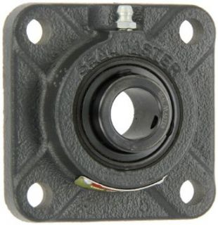"Sealmaster SF 204 Standard Duty Flange Unit, 4 Bolt, Regreasable, Felt Seals, Setscrew Locking Collar, Cast Iron Housing, 20mm Bore, 3 3/8"" Overall Length, 2 1/2"" Bolt Hole Spacing Width, 7/16"" Flange Height Flange Block Bearings Industria"