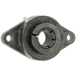 "Sealmaster SFT 12T Standard Duty Flange Unit, 2 Bolt, Regreasable, Felt Seals, Skwezloc Collar, Cast Iron Housing, 3/4"" Bore, 4 13/32"" Overall Length, 3 17/32"" Bolt Hole Spacing Width, 7/16"" Flange Height Flange Block Bearings Industr"