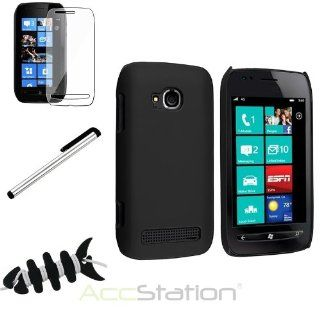 NEW YEAR  Bargain 2014 deal Black Rear Case+Clear LCD Pro+Silver Stylus For Nokia Lumia 710+Fishbone Wrap PlEASE CHOOSE 1 COLOR Cell Phones & Accessories