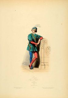 1870 Court Costume Page Boy France Middle Ages Medieval   Original Copper Engraving   Prints