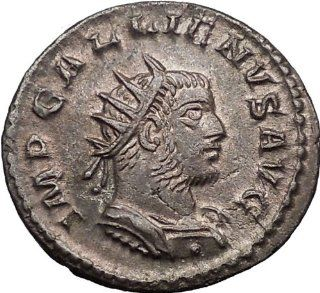 GALLIENUS 259AD Very Rare Silvered Ancient Roman Coin Victory over Germans