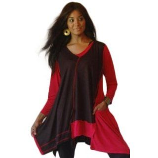 BLACK RED SHIRT TOP ASYM LAGENLOOK   FITS   S M L   B279S LOTUSTRADERS Clothing