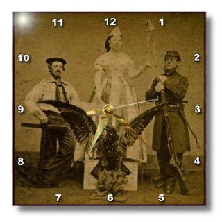 dpp_27557_1 Scenes from the Past Stereoview Card   American Civil War Union Soldier and Sailor and Lady Liberty Sepia Tone   Wall Clocks   10x10 Wall Clock