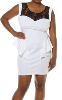 Plus Size Women Floral Lace Shoulder Cap Sleeve Sexy Peplum Dress White 1X