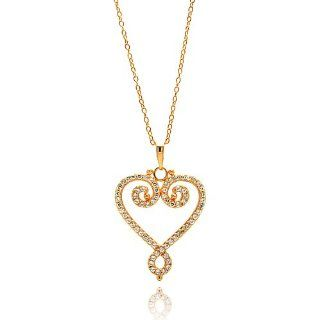 ".925 Sterling Silver Rose Gold Plated Cubic Zirconia Open Fancy Heart Charm Necklace with 16"" 18"" Adjustable Chain Pendants Jewelry"