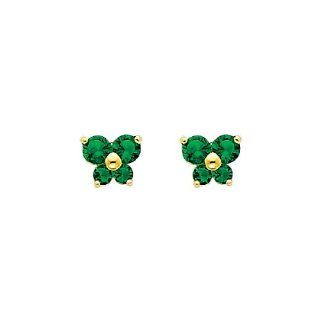 14K Yellow Gold May CZ Birthstone Butterfly Stud Earrings for Baby and Children (Emerald, Green) Jewelry