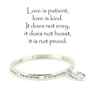 "Silvertone 1 Corinthians 134 ""Love Is Patient, Love Is Kind. It Does Not Envy, It Does Not Boast, It Is Not Proud�"" Stretch Bracelet W/Charm"