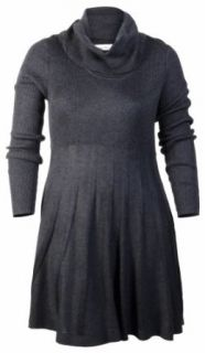Calvin Klein Women's Pleated Skirt Sweater Dress Charcoal (Medium)