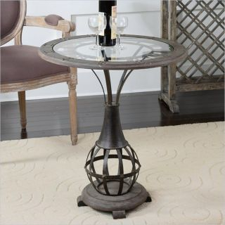Uttermost Honi Glass Accent Table in Antique Metal   24322