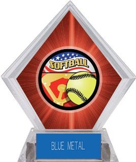 Custom Awards Americana Softball Red Diamond Ice Trophy BLUE METAL PLATE 7 RED DIAMOND SOFTBALL AMERICANA  Softball Equipment  Sports & Outdoors