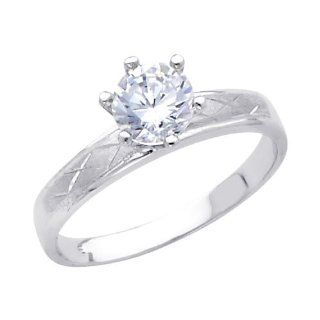 14K White Gold High Polish Finish Round cut Top Quality Shines CZ Cubic Zirconia Ladies Wedding Engagement Ring Band Engagement Rings For Women Jewelry