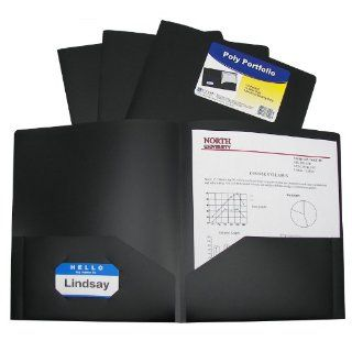 C Line Two Pocket Heavyweight Poly Portfolio, For Letter Size Papers, Includes Business Card Slot, 1 Display Case of 25 Portfolios, Black (33951)  Portfolio Ring Binders