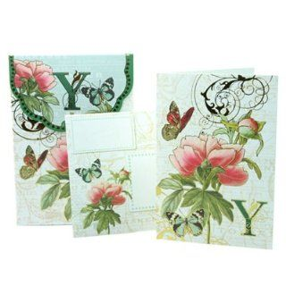 Punch Studio Floral Monogram Pouch Note Cards  #56976Y (Letter Y) Health & Personal Care
