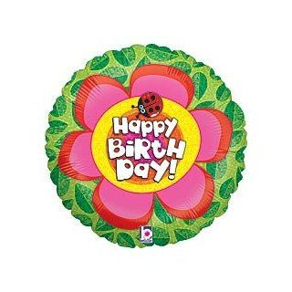 "Happy Birthday Flower Ladybug 18"" Mylar Balloon Health & Personal Care"