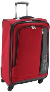 IZOD Luggage Journey 2.0 24 Inch 4 Wheeled Expandable Upright Suitcase, Aurora Red, Medium Clothing