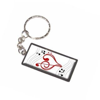Graphics and More Music Heart Love Treble Bass Clef Notes Staff White Keychain Ring (K7223)  Automotive Key Chains