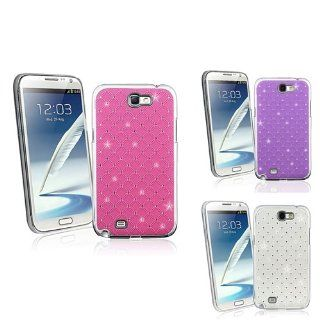 eForCity 3 packs Spot Diamond Rear Snap on Cases   Hot Pink / Purple / White Compatible with Samsung© Galaxy Note II N7100 Cell Phones & Accessories