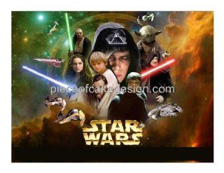 1/4 Sheet ~ Star Wars Collage Birthday ~ Edible Image Cake/Cupcake Topper  Dessert Decorating Cake Toppers  Grocery & Gourmet Food