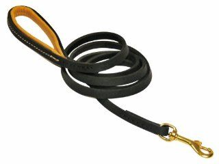 Dean & Tyler Soft Touch Leather Dog Leash with Brown Padded Handle and Solid Brass Snap Hook, 6 Feet by 1/2 Inch, Black  Pet Leashes