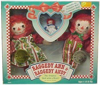 Raggedy Ann & Andy 80th & 75th Edition Christmas Dolls Set **See below regarding box and for additional discount**   Decorative Hanging Ornaments