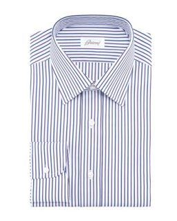 Mens Multicolored Striped Dress Shirt, Blue/White/Maroon   Brioni