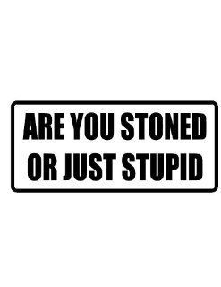 "2"" wide helmet hard hat ARE YOU STONED OR JUST STUPID. Printed funny saying bumper sticker decal for any smooth surface such as windows bumpers laptops or any smooth surface."